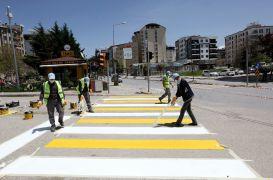 Van Büyükşehir Belediyesi sokağa çıkma kısıtlamasında yol çizgilerini yeniledi